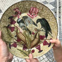 Decoupage Glass, Japanese Paper, Art Nouveau, Decorative Plates, Birds, Flowers, Etsy, Handmade, Paper