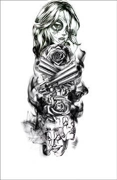 Чикано Portrait Tattoo Sleeve, Chicano Tattoos Sleeve, Forarm Tattoos, Best Sleeve Tattoos, Leg Tattoos, Body Art Tattoos, Tattoos For Guys, Skull Rose Tattoos, Skull Girl Tattoo
