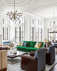Love the pop of color with the green couch Room, Interior, Building A New Home, Home, Beautiful Homes, House Interior, Chic Spaces, Interior Design, Living Room Designs