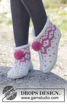 "Knitted DROPS slippers with Nordic pattern and pompoms in ""Andes"". ~ DROPS Design"