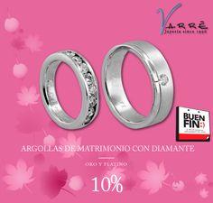 Semana del Buen Fin... El Arte de Ammar ♥♥♥  Argollas de Matrimonio con Diamante 10% de Descuento... #miércoles #joyería #Noviembre #boda #argollasdematrimoniocondiamante #descuento