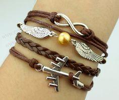 airplane bracelet wings bracelet infinity karma by handworld, $5.59