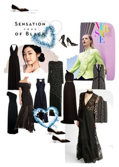 """Sensation of Black!"" by lalu-papa on Polyvore featuring Jenny Packham, Dsquared2, Elie Saab, Erdem, Hervé Léger, Brock Collection, Maria Lucia Hohan, Paul Andrew, Versace and Vision"