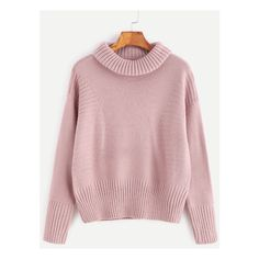 Pink Roll Neck Drop Shoulder Ribbed Knit  Sweater ($26) ❤ liked on Polyvore featuring tops, sweaters, pink sweater, roll neck sweater, drop shoulder sweater, drop shoulder tops and roll neck top