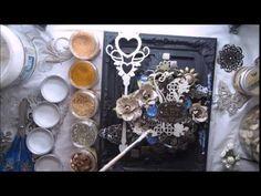 Tutorial Black gesso + Inka Gold Altered mixed media frame 'Art' for Fin...