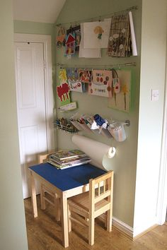 This great play space proves that don't need a lot of space to create a dedicated art space for children.
