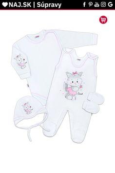 Súpravička 4-dielna Mačička bielo-ružová 56 (0-3m) Onesies, Baby, Kids, Clothes, Fashion, Children, Tall Clothing, Moda, Boys