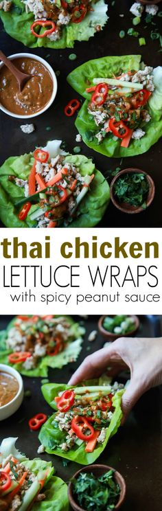 Thai Chicken Lettuce Wraps - made from scratch with chicken fresh ginger cilantro fresh vegetables and slathered with a Spicy Peanut Sauce. This quick easy recipe is ready in just 20 minutes and to die for!   joyfulhealthyeats... glutenfree:
