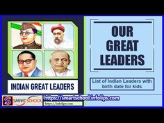 Indean leaders for kids | Great leader of India by Smart School | List o... Smart School, Learning Sites, Great Leaders, Children, Kids, Indian, Education, Clever School, Young Children