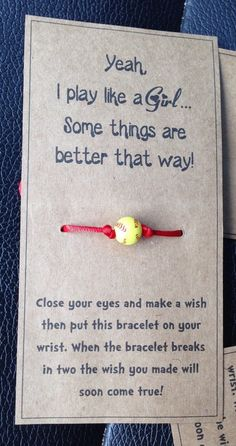 Play like a girl bracelets: can choose softball with red cord or soccer with black cord or a silver star on black cord. Softball Team Gifts, Softball Party, Softball Crafts, Softball Quotes, Girls Softball, Softball Players, Softball Stuff, Volleyball, Softball Things