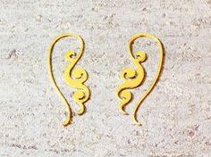 Pattern earrings gold,simple gold earrings, long gold earrings,bohemian earrings, designer earrings,flat earrings, dainty earrings