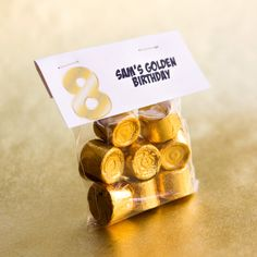 Golden Birthday treat for school -  Rolos are made by Hershey and are peanut-free!  Small treat bag with business card template topper.
