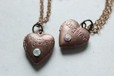 Mother daughter necklace set,initial mother daughter heart necklace,vintage mother daughter locket,mother's day gift,mother daughter gift by xuanqirabbit on Etsy
