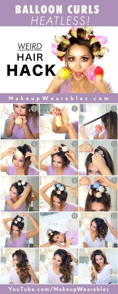 Heatless Curls with Ballons Hair Tutorial | Easy #Hairstyles