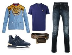 """""""Yah"""" by aintdatjulian on Polyvore featuring Gucci, Pierre Balmain, Louis Vuitton, Versus, men's fashion and menswear"""
