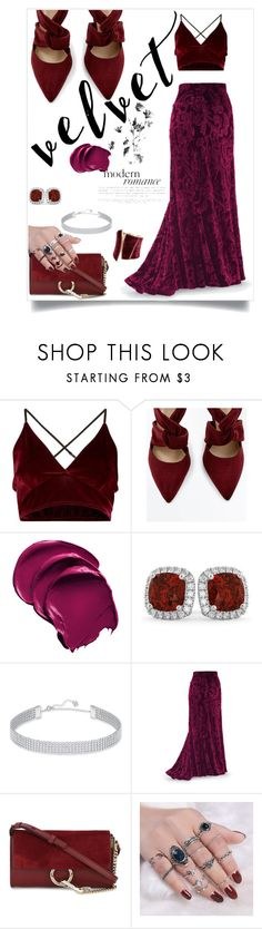 """""""Velvet"""" by styler208 ❤ liked on Polyvore featuring Allurez, Swarovski, Chloé and GUESS by Marciano"""
