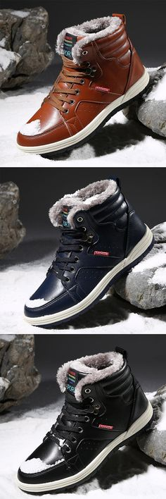 c4b95c28f32 US 39.5 Large Size Men Waterproof High Top Plush Lining Snow Ankle  Boots winter