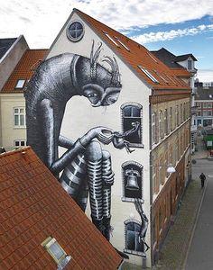 Street art by Phlegm in Aalborg, Denmark Best Street Art, Amazing Street Art, 3d Street Art, Street Artists, Murals Street Art, Art Mural, Mural Painting, Street Art Graffiti, Aalborg