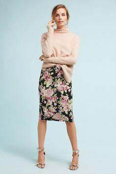 Slide View: 1: Floral Jacquard Pencil Skirt