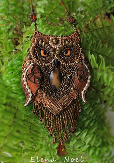 Fabulous owl - beaded necklace. Necklace Bead Embroidery Art