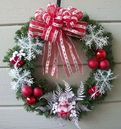 Snowflake Wreath by ritzywreaths on Etsy, $40.00