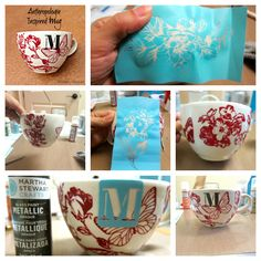 New idea: using silk screens (found in craft stores) to paint ceramics and glass!  morena's corner: Anthro Inspired Mug made with Martha Stewart Glass Paints
