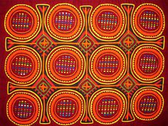 """""""Mola"""" Art. (A new one for me!). This one's a geometric mola panel from Kuna Yala, San Blas Islands Panama. [me: check out more molas by clicking on the image; then click here for info about Mola craft, history, artisans] http://www.ehow.com/about_6572070_mola-art_.html"""