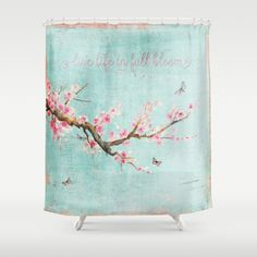 """Watercolor artwork of a blooming cherrytree branch - a few butterflies flying around on turquoise backround in vintage design. Text in old letters """"Live life in full bloom"""" <br/> <br/> I hope you like it as I had fun to create it :) <br/> <br/> watercolor, design, art, background..."""