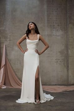 Our PJB Mira gown is made from a heavy weight silk faille with a silk satin lining. Dream Wedding Dresses, Bridal Dresses, Prom Dresses, Gown Wedding, Plain Wedding Dress, White Simple Wedding Dress, Sheath Wedding Dresses, Simple Long Dress, Bride Dress Simple