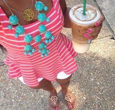 peplum + statement necklace + white jean shorts + tory burch sandals