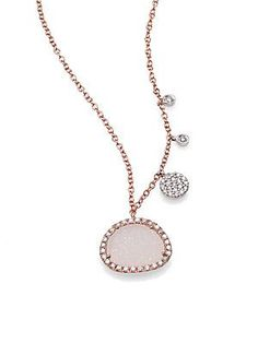 Meira T Druzy, Diamond & 14K Rose Gold Pendant Necklace  Soooo sparkly....soooo pretty!! Christmas cannot come fast enuff!