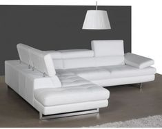 Italian White Leather Sectional