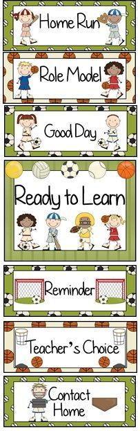 Sports Themed Behavior Clip Chart~ Classroom Management Tool