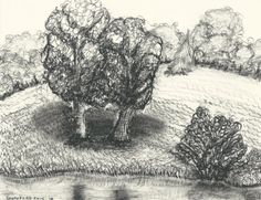 Southford Falls Original charcoal on Strathmore by LuckyMintStudio