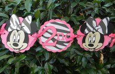 Minnie Mouse Birthday Party Banner  Pink/Zebra by YourPartyShoppe, $26.00