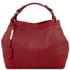 Ambrosia - Mykt skinn / Shoppingbag med skulderstropp - Rød