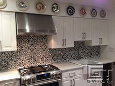 A Brooklyn Kitchen Gets a Smashing Cement Tile Back Splash Courtesy of Cluny