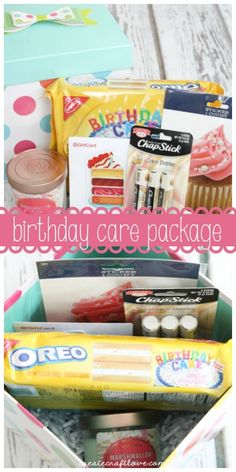 Birthday Gifts Inspiration : Image : Description Whether near or far, this Birthday Care Package let's your friends and family know you are thinking Birthday Present Diy, Mom Birthday, Birthday Presents, Birthday Ideas, Birthday Wishes, Birthday Cakes, Diy Birthday Basket, Birthday Quotes, Friend Birthday Gift