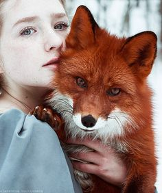Polina and Alice. White Wolf : The Girl And The Fox Cuddle In Beautiful Photographs by Alexandra Bochkareva