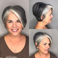 Side-Parted Pixie Bob avec Gray Balayage - Transitioning to grey - Short White Hair, Short Grey Hair, Short Hairstyles Over 50, Best Short Haircuts, Scene Hairstyles, Gorgeous Hairstyles, Gray Hairstyles, Wedding Hairstyles, Haircut For Older Women