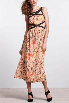 Anthropologie Amapolas Banded Midi Dress