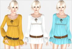 Short Tunic by Irida Sims Sims 3 Cc Finds, Free Sims, Career Wear, Mori Girl, Sims Cc, Mini Skirts, Tunic, Rompers, Content