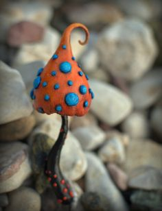 Orange blue fairy garden fantasy mushroom  ,polymer clay toadstool Home decor,Fairy Garden
