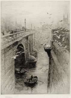 William Lionel Wyllie (1851 - 1931) - London Bridge And Southwark Cathedral From The Fishmongers' Hall (Etching with aquatint)