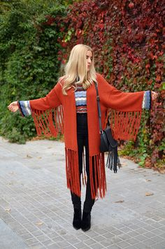 #fringe #cardigan #jacket #bellsleeves #bell #sleeves #blonde #long #hair #autumn #winter #outfit #look #inspiration #chic #street #style #fashionblogger #ootd #wiwt #wiw #whatiwore #whatiworetoday #outfit #outfitoftheday #lookoftheday #ladymandala