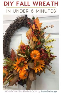 Its time to decorate your doors and porches with colorful fall foliage and pumpkins galore! We created a tutorial to mak a fall wreath in under 6 minutes! Autumn Wreaths For Front Door, Easy Fall Wreaths, Diy Fall Wreath, Thanksgiving Wreaths, How To Make Wreaths, Holiday Wreaths, Winter Wreaths, Spring Wreaths, Wreath Ideas