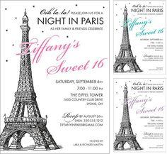 Night in Paris theme Sweet 16 invitation