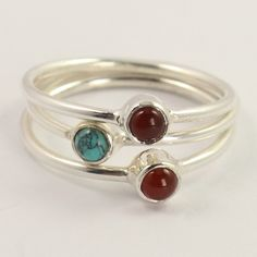 TURQUOISE(S) & CARNELIAN Gemstone 925 Sterling Silver Stacking Ring Size US 5.5 #Unbranded
