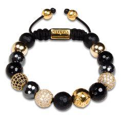 Nialaya Classic Damenarmband Schmuck WCZ10_001 Sterlingsilber vergoldet Hämatit