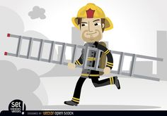 Fireman running with rescue ladder towards the smoke of a burning in the middle of the city. Under Commons 3.0. Attribution License.